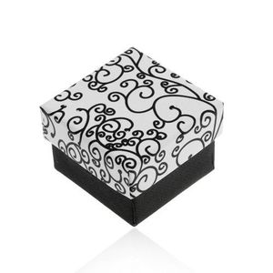 Cutiuță pentru inel, cercei sau pandantiv, în culorile alb-negru, model cu spirale imagine