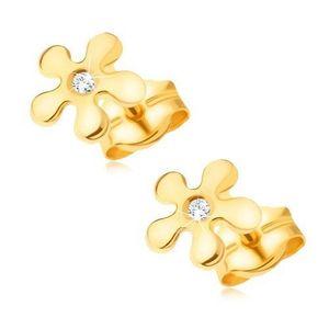 Cercei din aur 585 - floare strălucitoare cu un diamant rotund transparent imagine