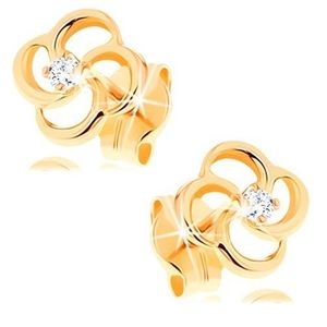Cercei din aur galben 14K - floare cu un diamant transparent imagine