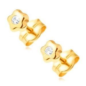 Cercei din aur 585 - floare mică cu diamant strălucitor transparent imagine