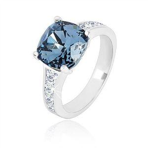 Inel din argint 925 - zirconiu pătrat de culoare albastru închis și zirconii transparente - Marime inel: 49 imagine