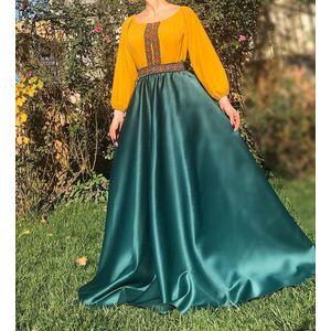 Rochie lunga din tafta cu broderie multicolora Yasmina verde imagine