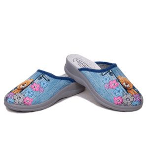 Papuci dama casa bleu interior piele Flower/Bear imagine