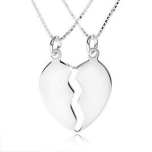 Colier din argint 925, două lanțuri, pandantiv dublu cu jumătăți de inimă imagine