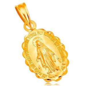Pandantiv din aur galben de 14K - medalion oval cu Fecioara Maria, reversibil imagine