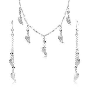 Set din argint 925 - cercei și colier, aripi de înger și bile pe lanț imagine