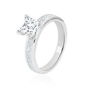 Inel din argint 925 - zirconiu pătrat de culoare clară, brațe strălucitoare - Marime inel: 49 imagine