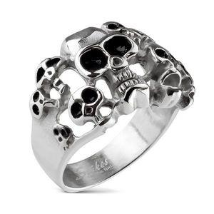 Inel din oțel 316L de culoare argintie - zece cranii cu smalț de culoare neagră - Marime inel: 59 imagine