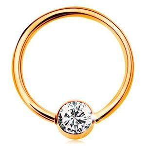 Piercing din aur galben 375 - cerc lucios cu o bilă cu zirconiu transparent, 12 mm imagine