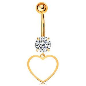 Piercing pentru buric din aur 9K - zirconiu transparent, contur subțire de inimă simetrică imagine