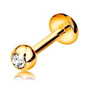 Piercing pentru buză sau bărbie din aur 9K - labret cu bilă cu zirconiu și cerc, 6 mm imagine