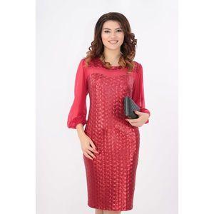Rochie cu paiete rosii si maneci din tull imagine