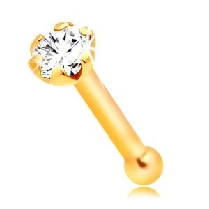 Piercing din aur de 14K pentru nas - zirconiu rotund, 1, 5 mm imagine