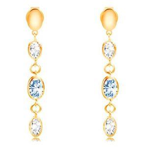 Cercei lungi din aur de 14K - ovale și zirconii transparente și albastru-deschis imagine