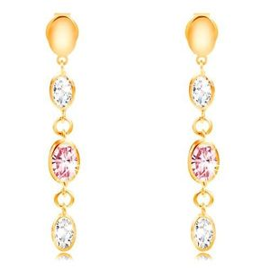 Cercei lungi din aur de 14K - ovale și zirconii transparente și roz imagine