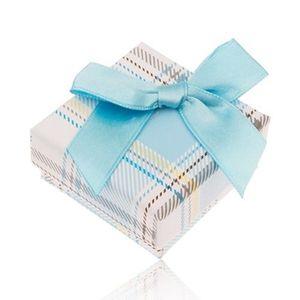Cutiuță de cadou pentru inel cu model în carouri, fundiță albastru deschis imagine