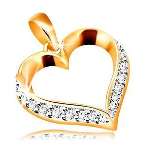 Pandantiv din aur 585 - contur inimă asimetrică cu zirconii transparente imagine