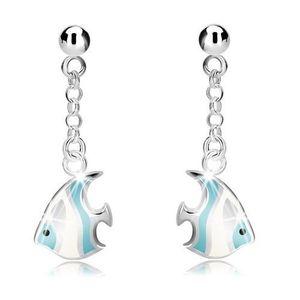 Cercei din argint 925 - bilă și pește albastru-alb pe lanț, închidere de tip fluturaș imagine