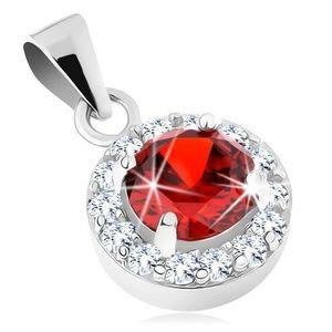 Pandantiv din argint 925, zirconiu rotund de culoare roșie, margine transparentă imagine