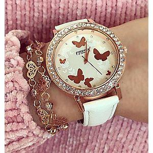 Ceas dama de culoare alba din piele cu model fluturi imagine
