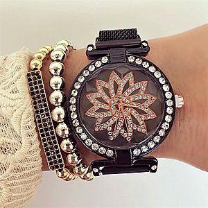 Ceas dama negru elegant cu pietricele si sistem magnet imagine