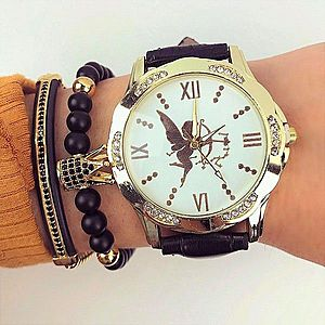 Ceas dama negru din piele ecologica cu model imagine
