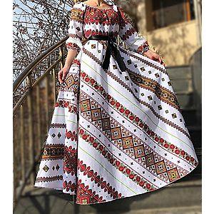 Rochie lunga cu motive traditionale si flori Anastasia imagine