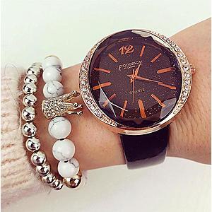 Ceas dama negru elegant din piele lucioasa imagine