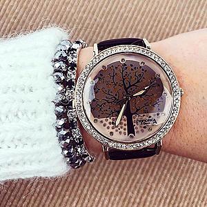 Ceas dama negru cu pietricele elegant imagine