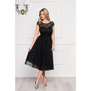 Rochie de ocazie midi neagra cu fermoar la spate imagine