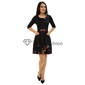 Rochie Perla Donna Listening Flowers Black imagine