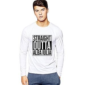 Bluza barbati alba - Straight Outta Alba Iulia imagine