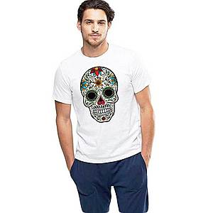 Tricou barbati alb - Sugar Skull Colorful imagine
