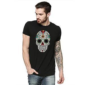 Tricou barbati negru - Sugar Skull Colorful imagine
