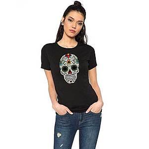 Tricou dama negru - Sugar Skull Colorful imagine