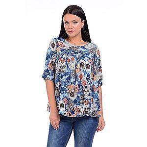 Bluza Dama Ampla cu flori Albastra imagine