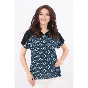 Bluza neagra cu desen geometric imagine