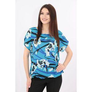 Bluza albastra cu print floral maxi imagine
