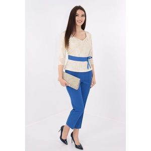 Costum elegant bluza din brocard si pantaloni albastri imagine