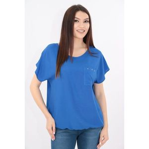 Bluza albastra din bumbac cu buzunar aplicat imagine
