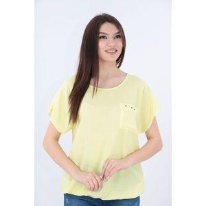 Bluza galbena din bumbac cu buzunar aplicat imagine