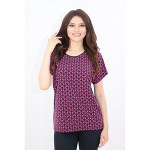 Bluza bleumarin cu print geometric fucsia imagine