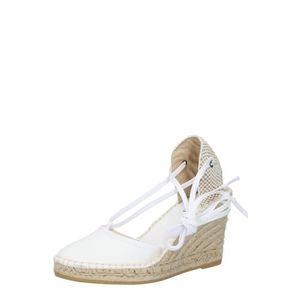 Sandale dama alb cu bej cu toc de 7 cm imagine