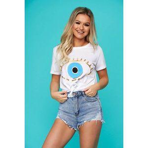 Tricou SunShine alb casual cu croi larg si imprimeuri grafice imagine