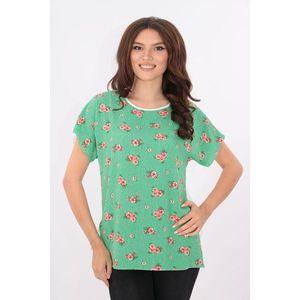 Bluza lejera alba cu verde si flori rosii imagine