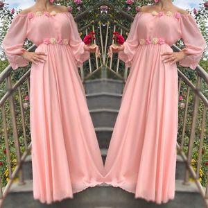 Rochie lunga din voal cu detalii florale Valeria roz imagine