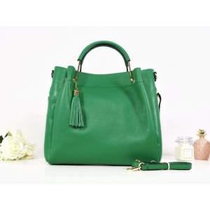 Geantă verde electric piele naturală Allegria imagine