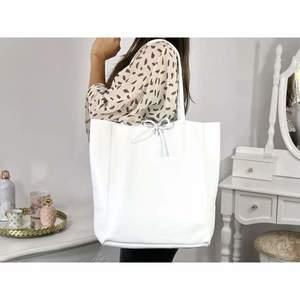 Geantă shopper albă piele naturală Bonnie imagine