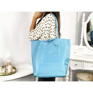 Geantă shopper bleu piele naturală Bonnie imagine
