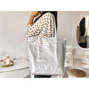Geantă shopper silver piele naturală Bonnie imagine